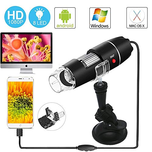 USB Microscope – Digital Magnification Endoscope 40 to 1000x Mini Camera with OTG Adapter Suction Cup Stand 8 Adjustable LEDs - Compatible with Mac Window 7 8 10 Android Linux