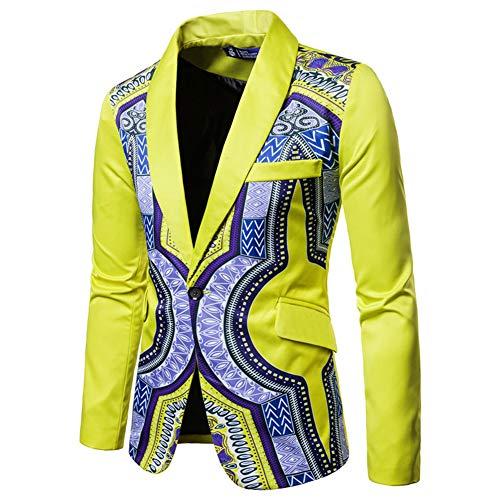 Men's Print One Button Suit Dress Ethnic Style Party Fashion Slim Blazer Suit Yellow
