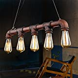 Fuloon Vintage Pendant Vintage Rustic Industrial Steampunk Straight Tube Water Pipe Pendant Hanging Ceiling Bar Light Island Chandelier(bulb not included) For Sale