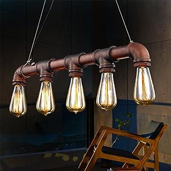 Fuloon Vintage Pendant Vintage Rustic Industrial Steampunk Straight Tube  Water Pipe Pendant Hanging Ceiling Bar Light