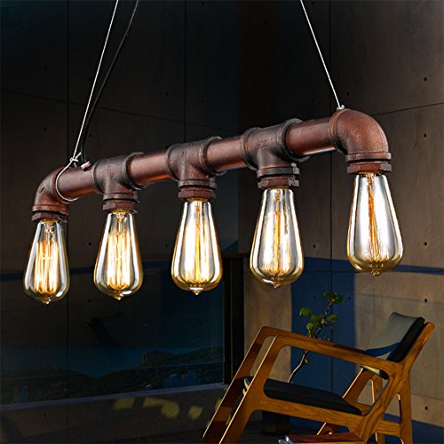 Fuloon Vintage Pendant Vintage Rustic Industrial Steampunk Straight Tube Water Pipe Pendant Hanging Ceiling Bar Light Island Chandelier bulb not included