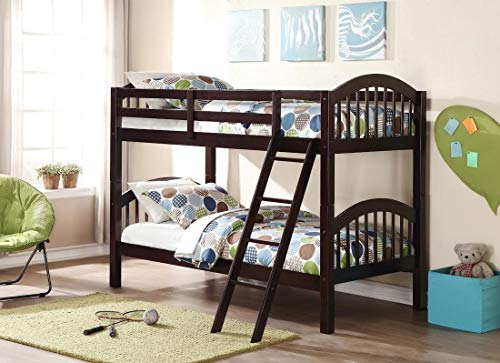 Storkcraft Long Horn Solid Hardwood Twin Bunk Bed, Espresso Twin Bunk Beds for Kids with Ladder and Safety Rail 2