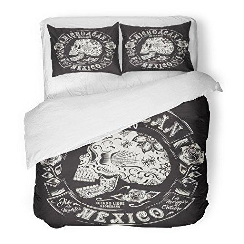 SanChic Duvet Cover Set Tatoo Skull Flowers Mexico Graphics Bandana Black Bone Christian City Decorative Bedding Set with 2 Pillow Shams Full/Queen Size by SanChic