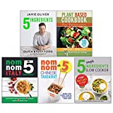 Books : 5 Ingredients - Quick & Easy Food [Hardcover], Plant Based Cookbook For Beginners, Nom Nom Italy In 5 Ingredients And Chinese Takeaway, 5 Simple Ingredients Slow Cooker 5 Books Collection Set
