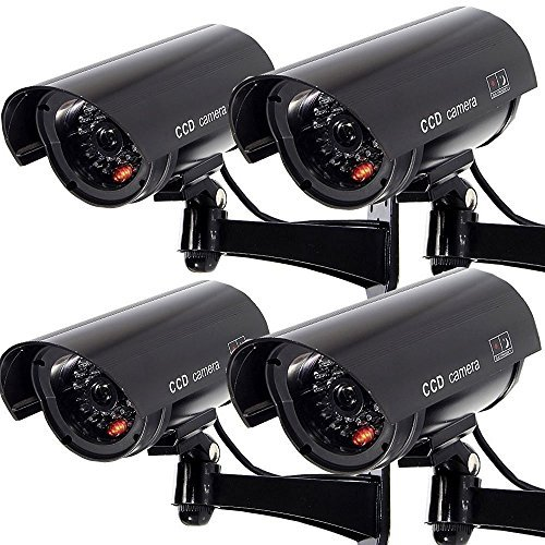 Dummy Surveillance Camera Outdoor Fake Security Waterproof Wireless CCTV Bullet Cam with Flashing LED Light 4 Pack (Best Homemade Halloween Costumes)