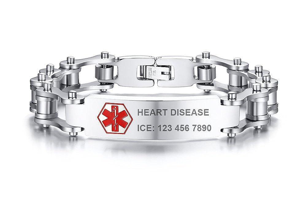 Free Custom Engraving-Stainless Steel Cool Motorcycle Biker Chain Link Medical Alert ID Bracelets for Men, 8.2 8.2 Mealguet MG-BR-504S-KZ
