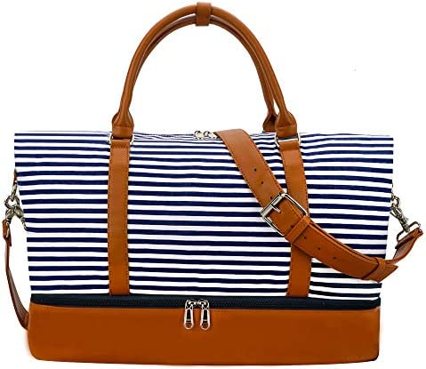 Weekender Bag Carry on Overnight Duffel for Women, Carrying Weedkend Travel Bags for Ladies, Large Canvas& PU Leather with Shoe Compartment Duffel (Blue Strips)