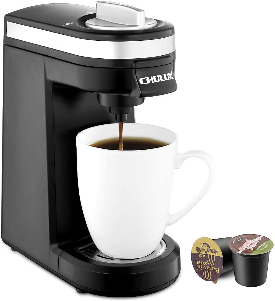 CHULUX Single Serve Coffee Maker, Personal Coffee Brewer Machine for Single Cup Pods Reusable Filter, 12oz Water Tank, Quick Brewing, One Touch Operation, Compact Size, for Home, Office, RV