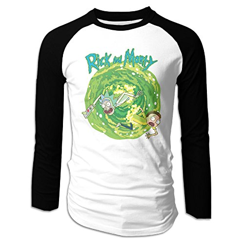 Men's Long Sleeve Rick And Morty Funny Cartoon Baseball Raglan Tee Jersey