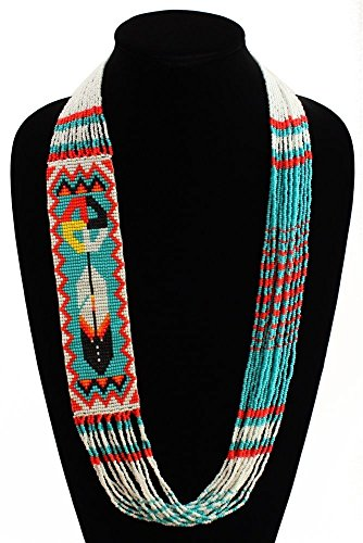 NE146-231 Turquoise Fine Glass Hand Bead Medicine Wheel Feather Necklace Crystal from Unknown