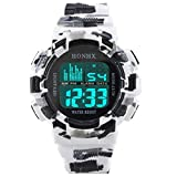 Mens Sport Digital Waterproof Watch Military LED Electronic Casual Watches Luminous Cool Army Watch (E)