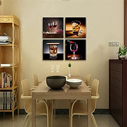 Amazon Com 4 Piece Modern Kitchen Canvas Paintings Red Wine Cup