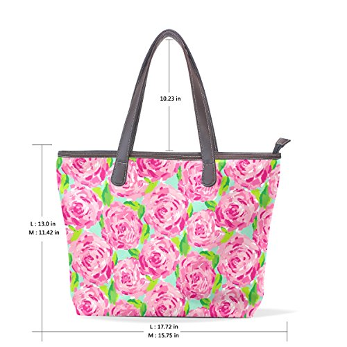 bandoulière Roses COOSUN roses fourre cuir cm PU à Sac grand tout 33x45x13 poignée fourre motif en L tout Multicolor 003 Sacs qq7rBd