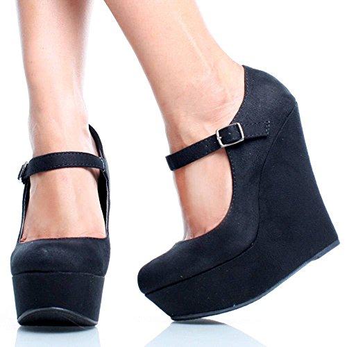 Delicious KAYLA Basic Platform Wedge Heel Mary Jane Pump,kayla Black Imsu 6.5 M US