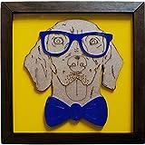 Quadro Decorativo, Modelo Geek Dog Me Criative QFC Azul Pacote de 1