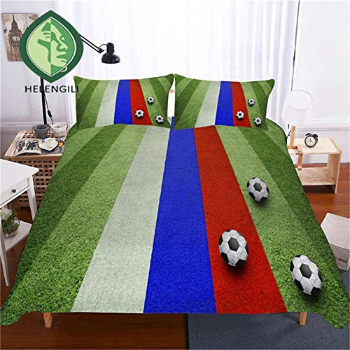 3D Bedding Set Football Print Duvet Cover Set Lifelike Bedclothes with Pillowcase Bed Set Home Textiles #ZQ-16 UK Double