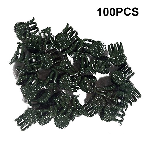 KINGLAKE Orchid Stem Clips,Medium Daisy Plant Clips, 100 Pcs Plant Support Clips Garden Flower Thick Plastic Vine Clips Dark Green (95230)