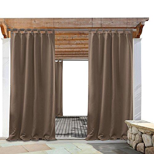PONY DANCE Patio Outdoor Curtains - Garden Decor Drapes Energy Efficient Tab Top Blackout Window Drapery Light Block for Porch Gazebo, Mocha, 52 x 84 Inch, Set of (Tab Drapery)