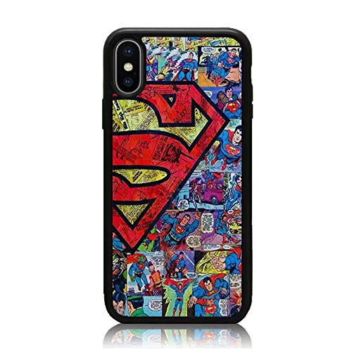 iPhone XR Case, Soft TPU & Hard Back Shock Absorption Scratch Proof Slim Protective Case Cover for iPhone XR 6.1 Inch Superman Comics Collage 2018 -