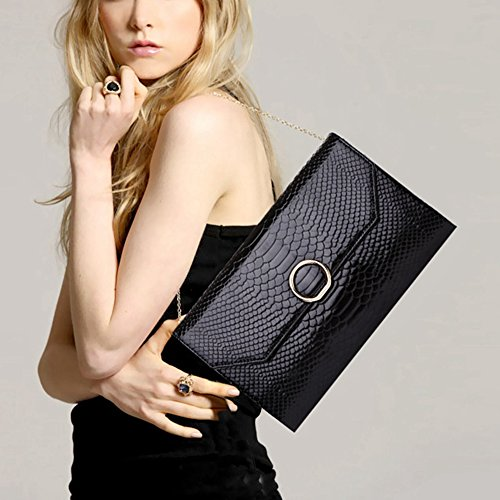 Bags Leather Crocodile Evening Pattern Black Lady Genuine Clutches Luxury Day Women's pxqwA5zz