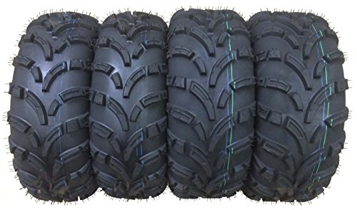 Set of 4 WANDA ATV/UTV Tires 26x9-12 Front & 26x10-12 Rear /6PR P373 - 10258/10259 (Atv 4 Tires Wheeler)