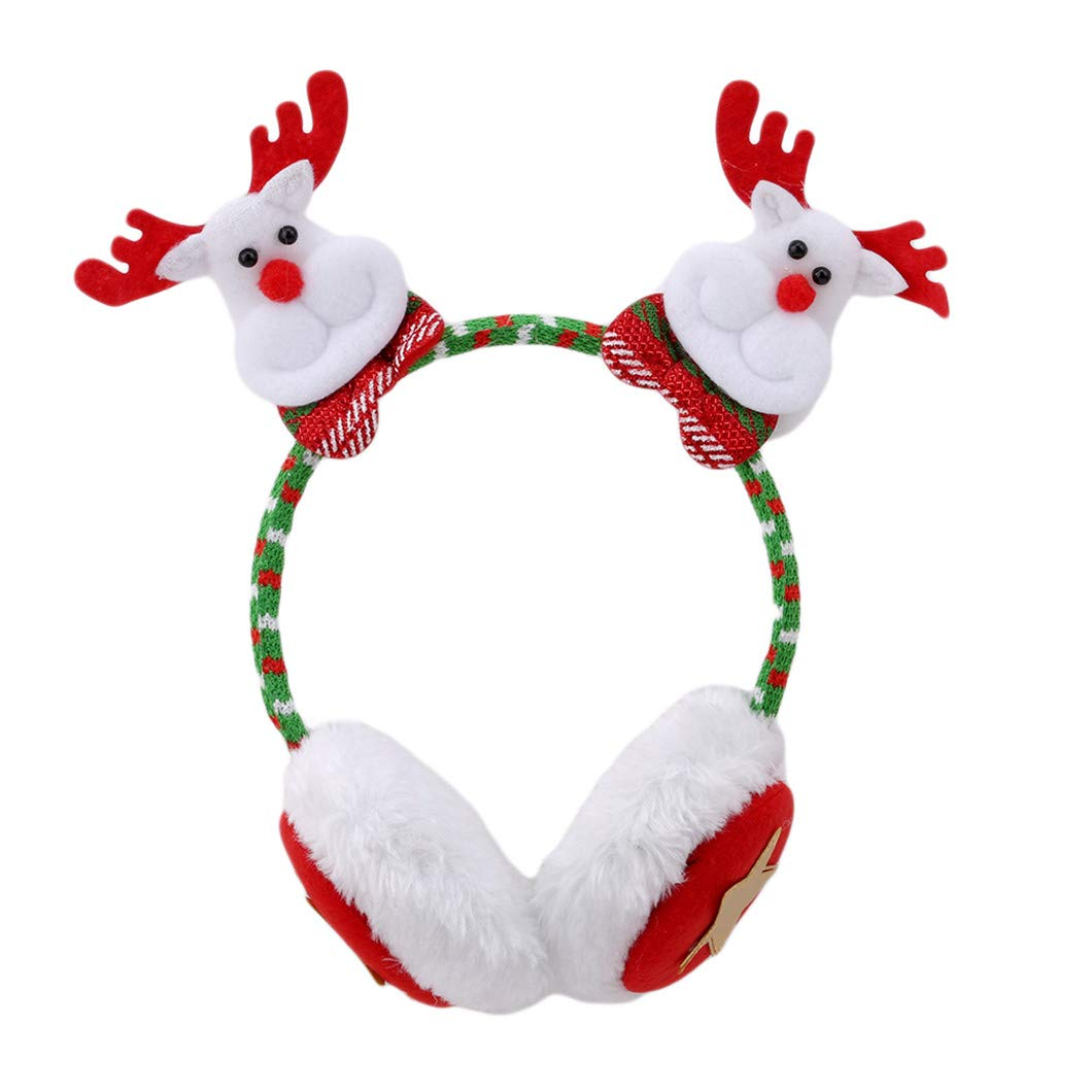 DeliV Santa Claus Christmas Snowman Elk Bear Headband Earmuffs Adult Children Dress Up Christmas Head Buckle, Elk