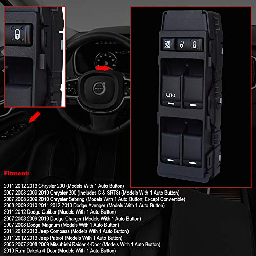APDTY 012560 Power Window Switch Front Left IMPORTANT Fits Models Listed With 1 SingleAUTO Button Chrysler 200 300 Sebring Avenger Caliber Charger Magnum Jeep Compass Patriot Raider Dakota