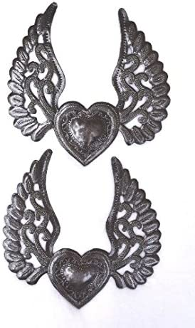 Set of 2, Milagro Hearts, Flying Heart, Tattoo Art, Angel Wings, Love and Friendship, Unique Haiti Metal, 8 in. x 8 in.
