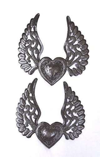 (Set of 2, Milagro Hearts, Flying Heart, Tattoo Art, Angel Wings, Love and Friendship, Unique Haiti Metal)