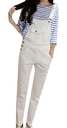 a6fc8164925b Papijam Womens Stretch Pocket Bib Overalls Long Denim Jumpsuit Pants White  XS