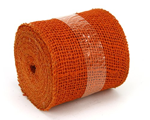 Kel-Toy Jute Burlap Ribbon, 4-Inch by 10-Yard, Orange