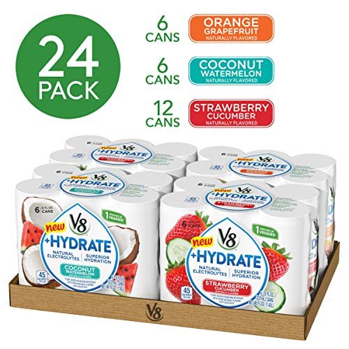 V8 +Hydrate Plant-Based Hydrating Beverage, Variety Pack, 24 Count