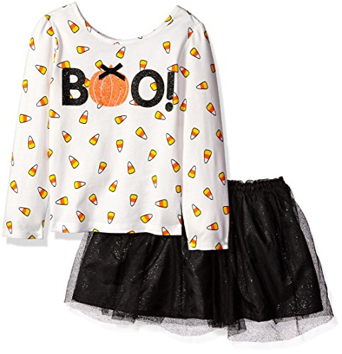 The Children's Place Little Girls and Toddler Halloween Skirt Set, Black, 5T (Halloween Girl)