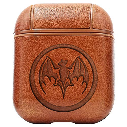 Logo Bacardi BAT (Vintage Brown) Engraved Air Pods Protective Leather Case Cover - a New Class of Luxury to Your AirPods - Premium PU Leather and Handmade exquisitely by Master Craftsmen ()