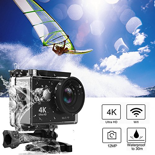 Action Camera, Greatever WIFI UHD 4K Action Camera Waterproof Diving Cam Underwater Camcorder Sport DV Car DVR 12M 170° Lens 2 LCD Screen 2PCS Rechargeable 1050Mah Batteries