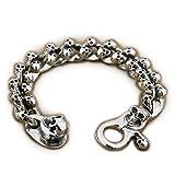 925 Sterling Silver Handmade Skulls Mens Biker Bracelet 9N005 (11.8 Inches Fits Wrist 9.5'' - 10.3'')