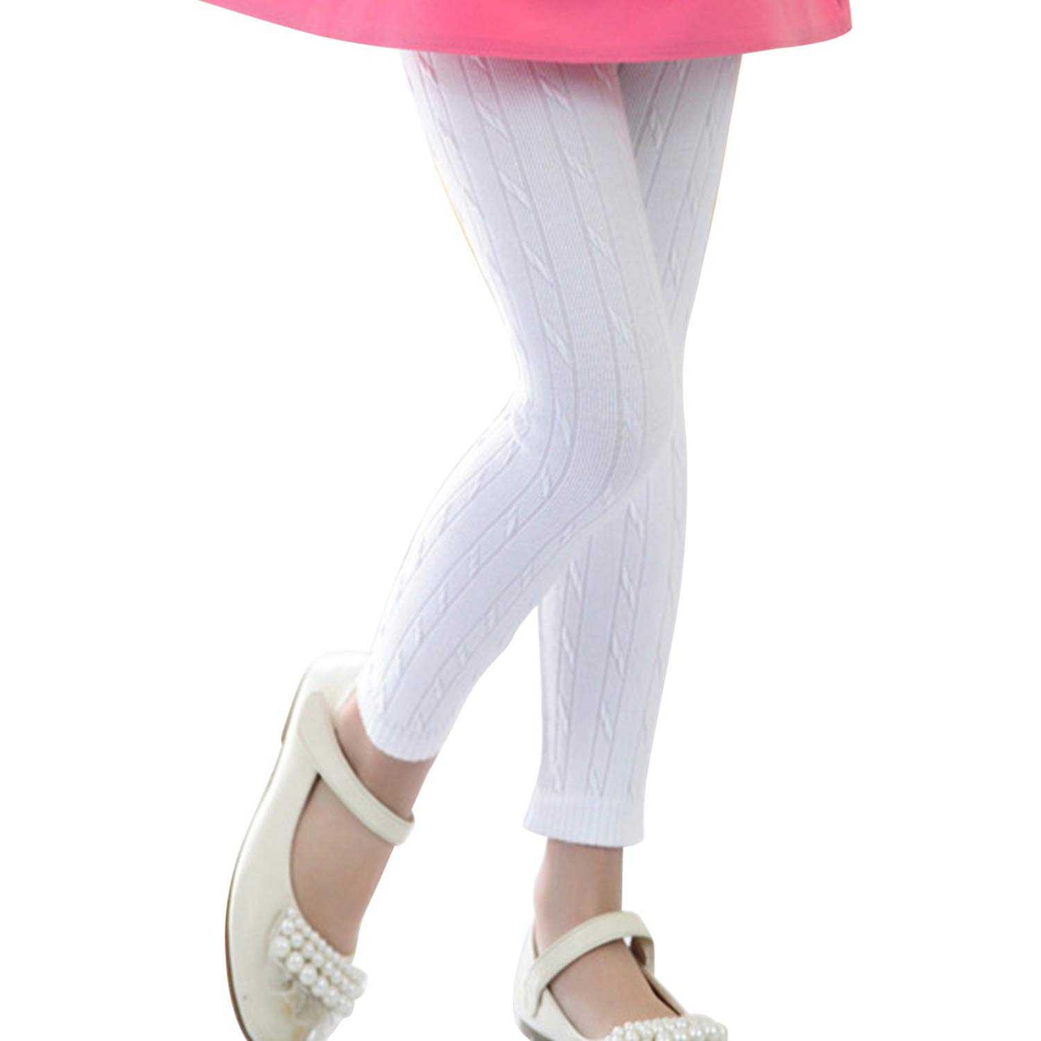 Evelin LEE Baby Girls Cute Cable Knit Cotton Tights Solid Pantyhose Stockings Leggings