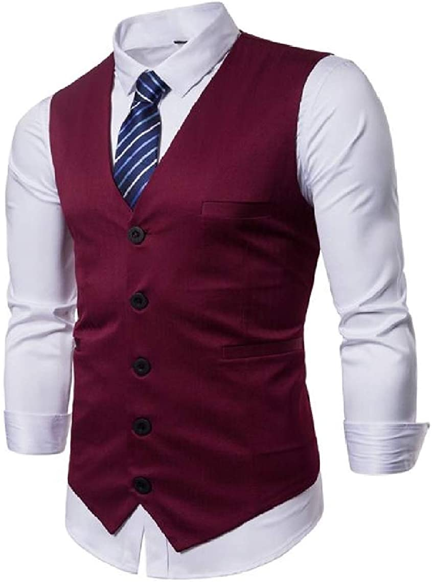 LinkShow Mens Fashion Single-Breasted Casual Bussiness Vest Sleeveless Waistcoat