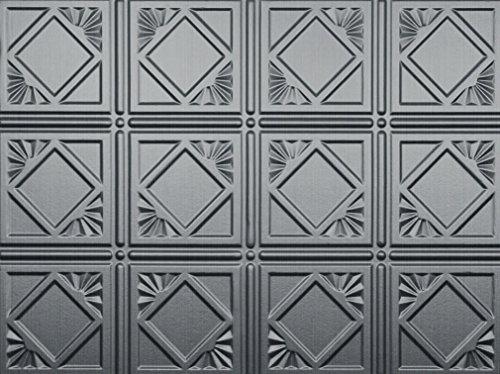 - Mirroflex Charleston Backsplash Tiles Decorative Wall Paneling, Brushed Aluminum, 18
