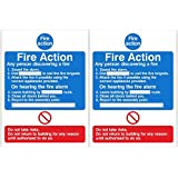 Pack of 2 Fire Action Signs 150mm x 200mm - Self Adhesive (ACT.09W-SA-PACKOF2)