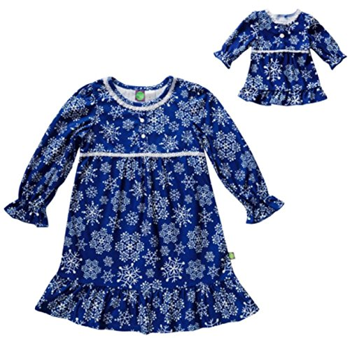 Dollie and Me Nightgown Sleepwear Set with Matching Outfit for 18 Inch Play Doll, 8, Blue Snowflake ()