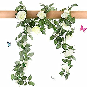 Greentime 2 Pcs Fake Flowers Vine 7.8 FT 16 Heads Silk Artificial Roses Garland Plant for Wreath Wedding Party Home Garden Wall Decoration, Cream 1