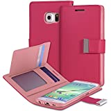 Vena [vDiary] Samsung Galaxy S6 Edge+ Wallet Case - Chic Slim Tri-Fold Flip Cover Faux Leather Wallet Case [Card Pockets & Stand] for Galaxy S6 Edge+ (Hot Pink / Light Pink)