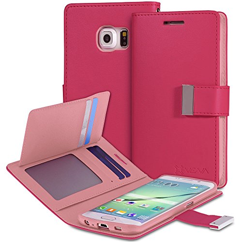Galaxy S6 Edge Plus Wallet Case, VENA [vDiary] Slim Tri-Fold Leather Wallet Case with Stand Flip Cover for Samsung Galaxy S6 Edge+ (Hot & Light Pink)