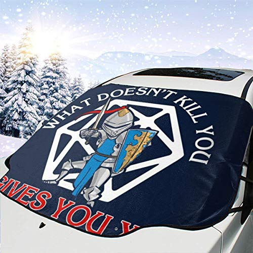 ENXIANGXIJ What Doesnt Kill You Gives You XP Car Windshield Snow Cover, Ice Removal Sun Shade, Fit for Universal Cars (58'' X47'')