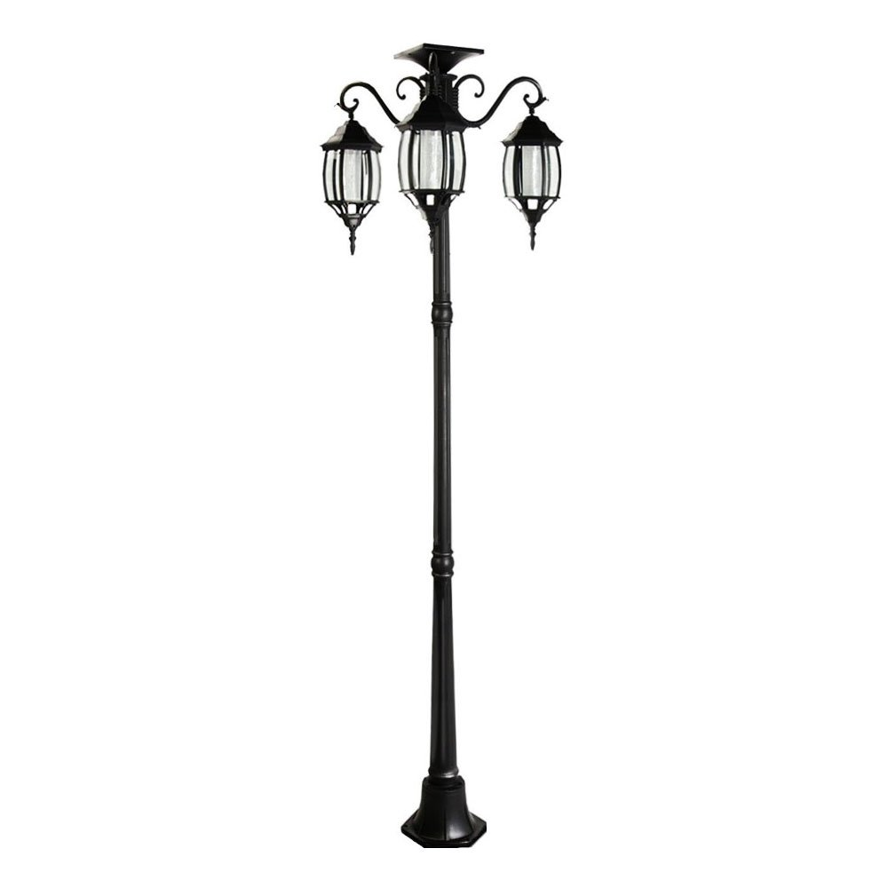 6.7 ft (80 in) Tall Solar Lamp Post and Planter 3 Heads - Black Product SKU: SO30346