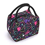 Sumnacon Insulated Lunch Bag, Reusable Portable Leakproof Lunch Box Tote Cooler Bag for Men Women Girls Kids for Work,School,Picnic(Heart Pattern)