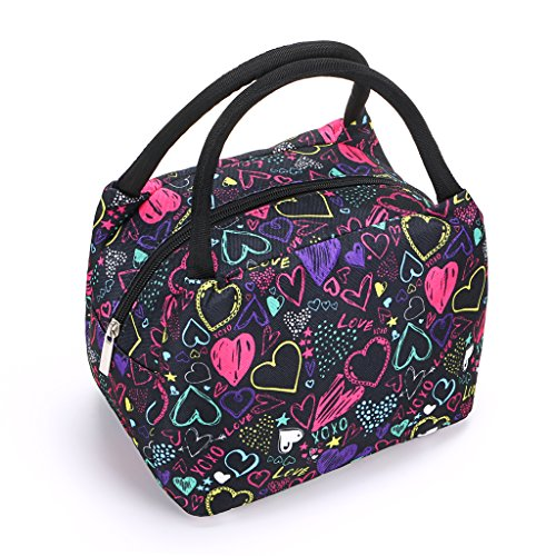 Sumnacon Insulated Lunch Bag, Reusable Portable Leakproof Lunch Box Tote Cooler Bag for Men Women Girls Kids for Work,School,Picnic(Heart Pattern) by Sumnacon (Image #7)
