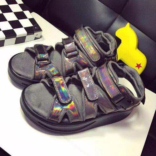 Xing Lin Sandalias De Cuero Plata Rojo Verano Ocio Con Rocking Zapatos Sandalias Zapatos De Velcro Grueso Del Silenciador Brown three straps