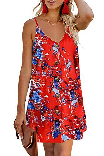 FZ FANTASTIC ZONE Women's Summer Casual V Neck Spaghetti Strap Buttons Sleeveless Tank Mini Dress Floral Orange